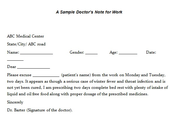 doctors notes for missing work