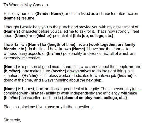 sample character reference letter for a friend