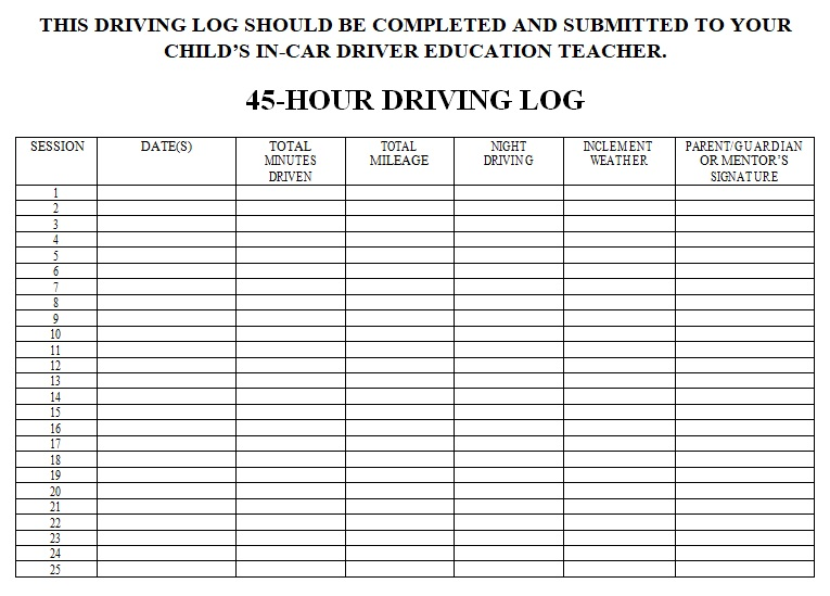 Driver daily log sheet template