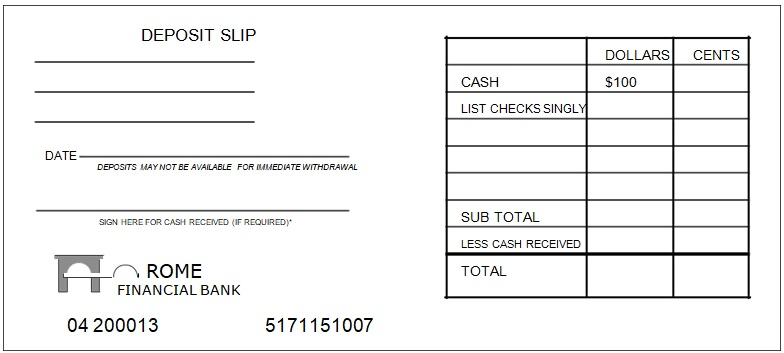 Printable Free Deposit Slip Template And Examples For Bank