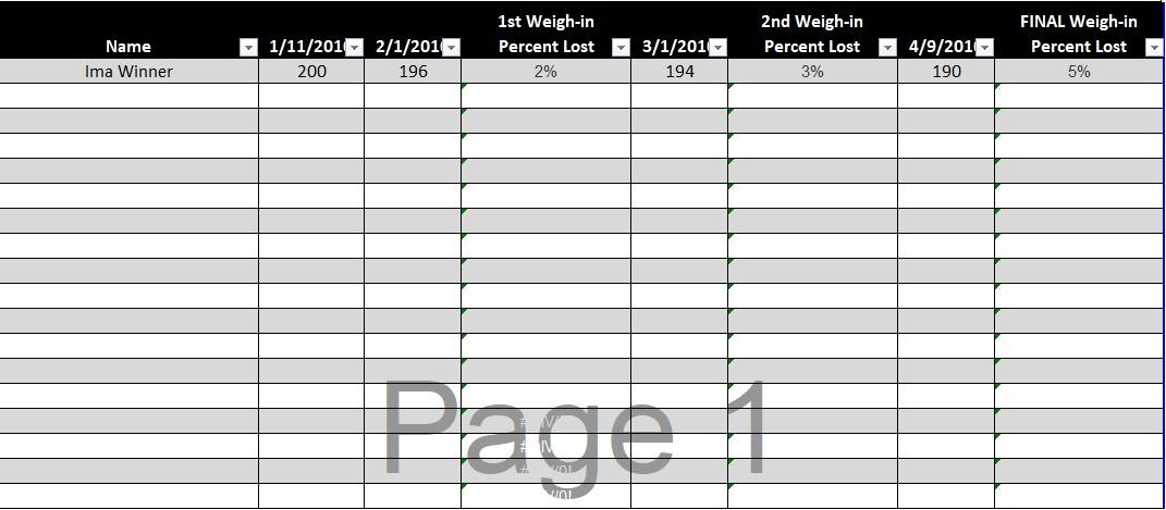 biggest loser office challenge spreadsheet