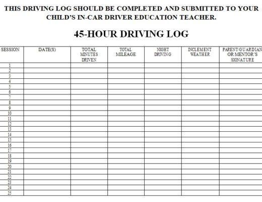 driver log sheet