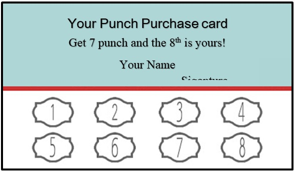 business punch cards template