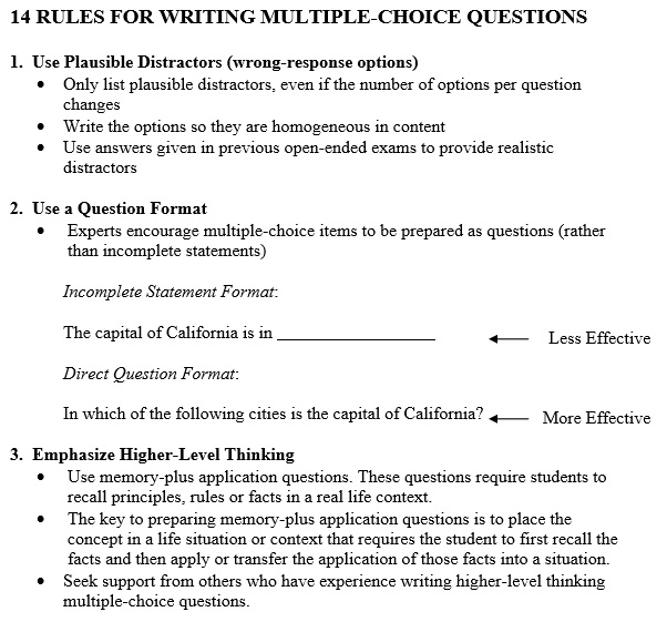 14 rules for writing multiple choice questions template