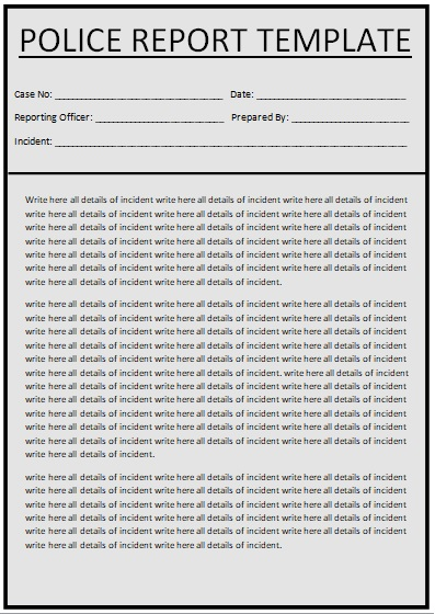 fake police report template