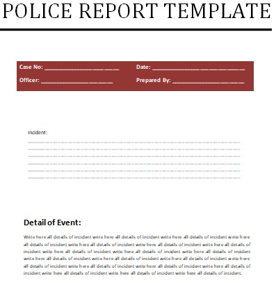 fillable police report template
