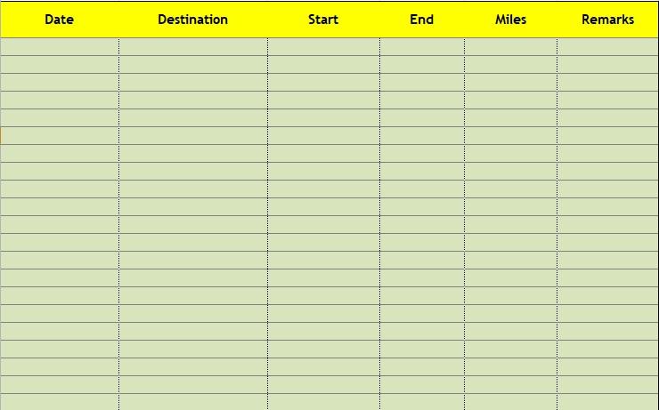 free printable mileage log