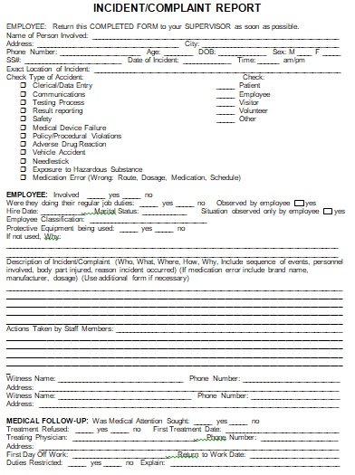 laboratory incident report template
