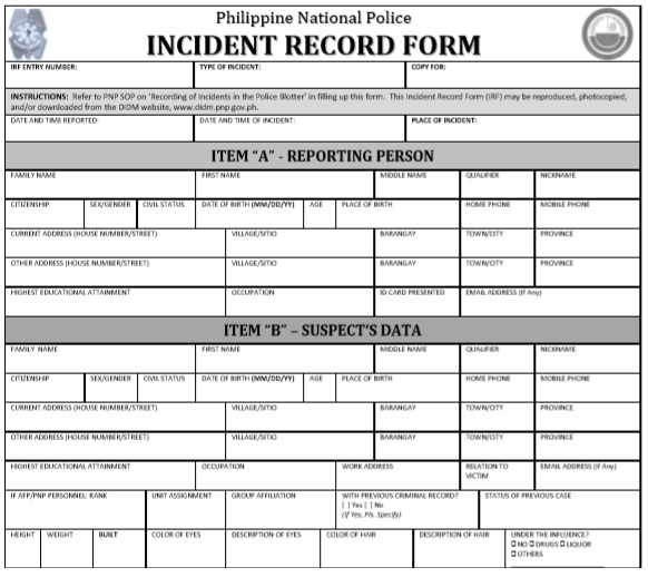 police incident report template