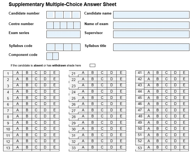 supplementary multiple choice answer sheet