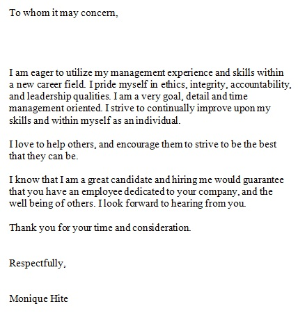 to whom it may concern sample letter for employee