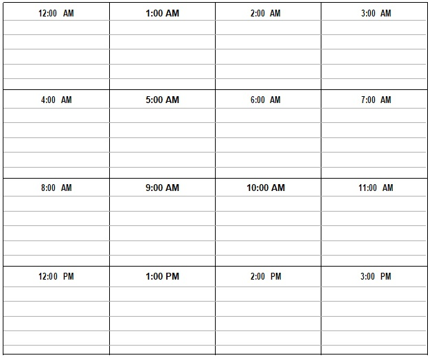 24 hourly schedule template