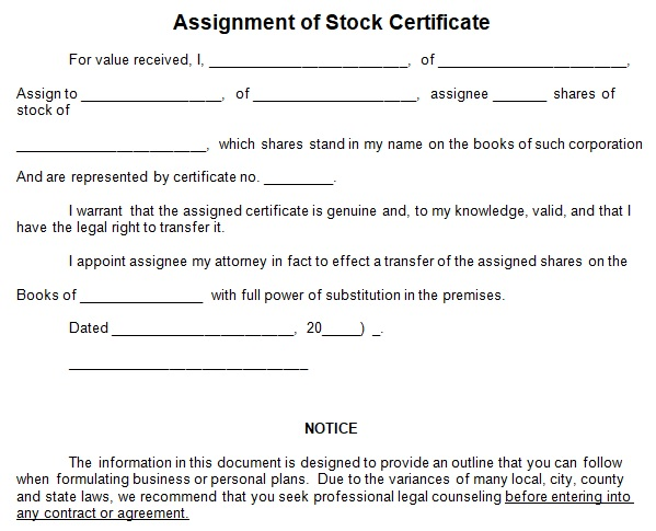 common stock certificate template