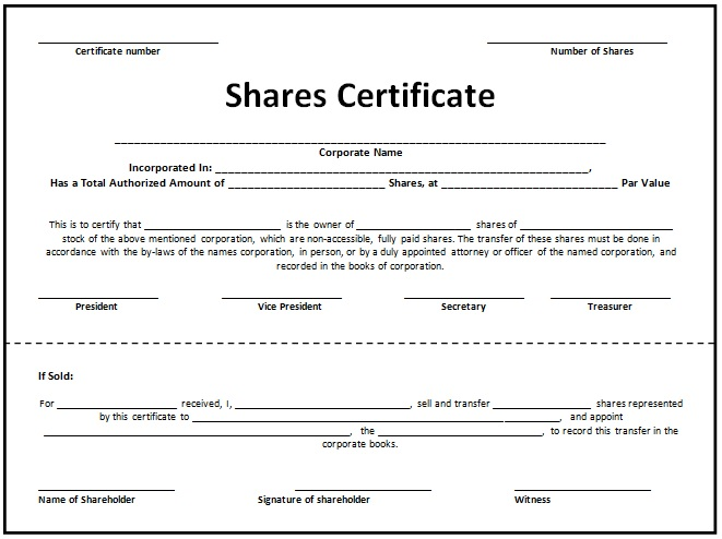 printable stock certificate