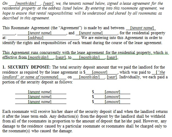 simple room rental agreement