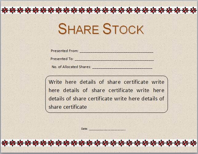 stock certificate format in word