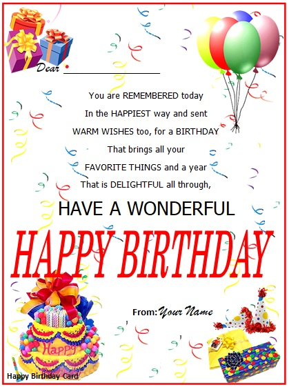 birthday greeting card template for word