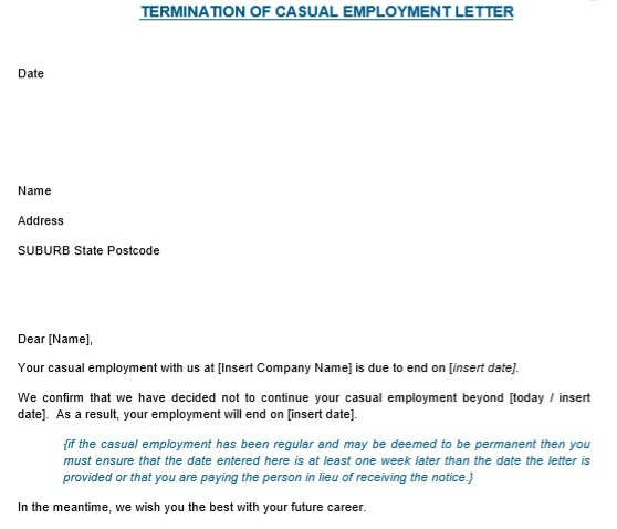 casual employee termination letter sample pdf