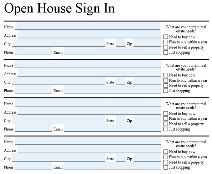 editable open house sign in sheet pdf