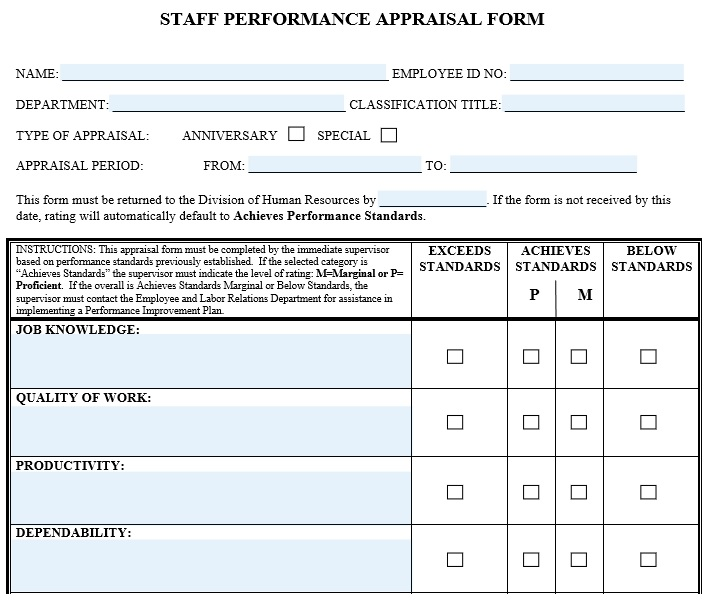 editable staff evaluation form