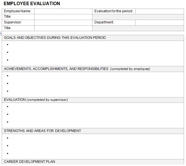 free employee evaluation form template word