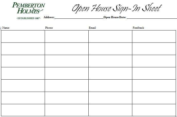 free open house sign in sheet