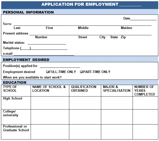 free printable job application
