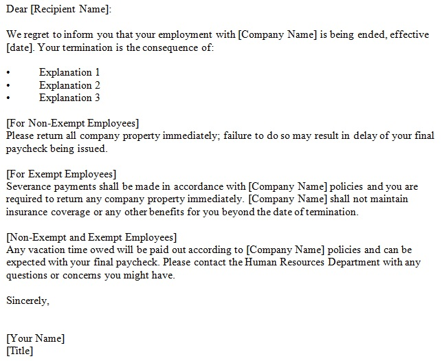 job termination letter for employee