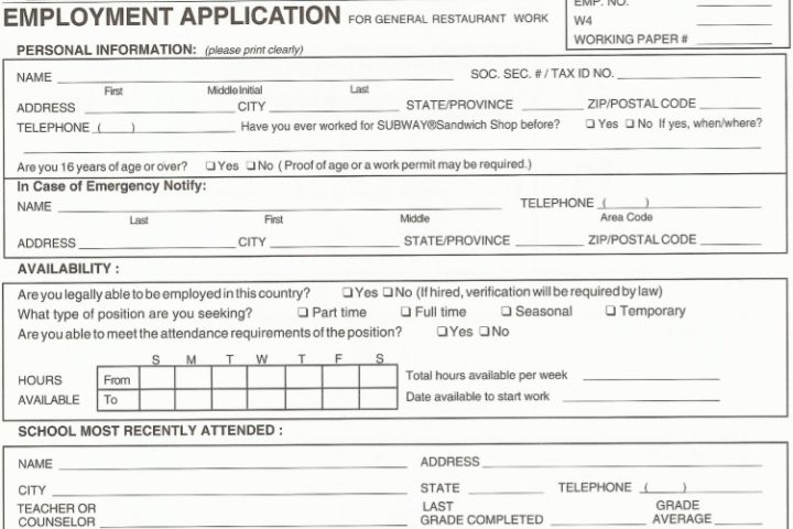 restaurant job application