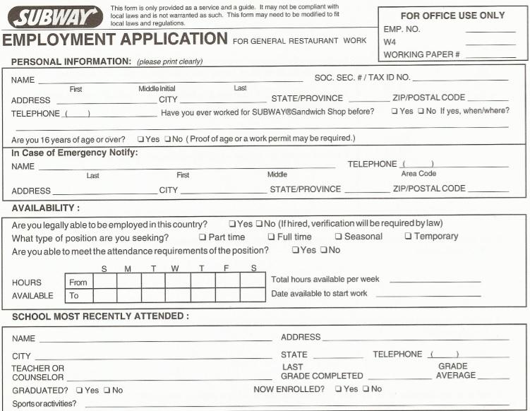 restaurant job application