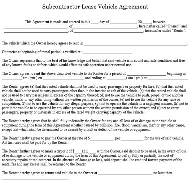 subcontractor vehicle lease agreement