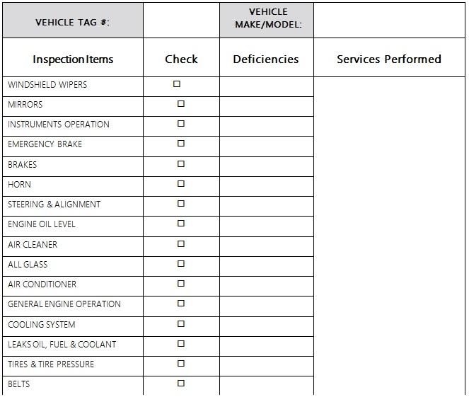 truck maintenance log template