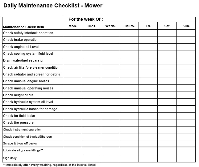 daily maintenance checklist template