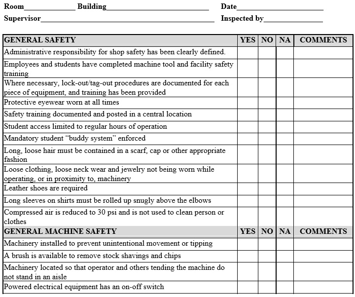 equipment preventive maintenance checklist