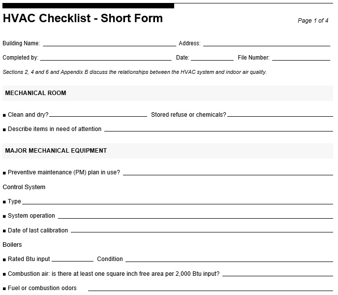 hvac preventive maintenance checklist template