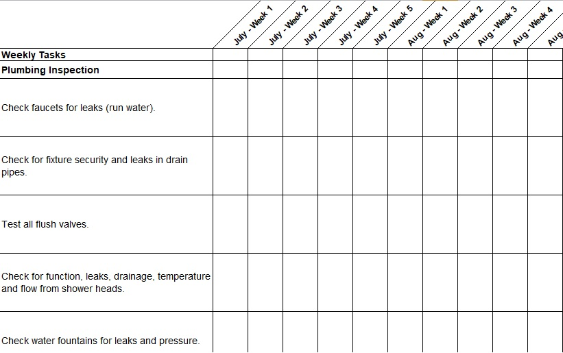 preventive maintenance checklist template excel