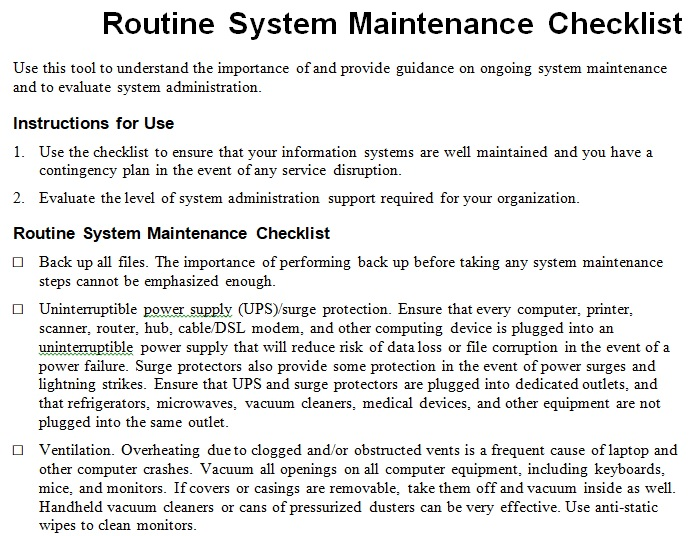 routine system maintenance checklist template