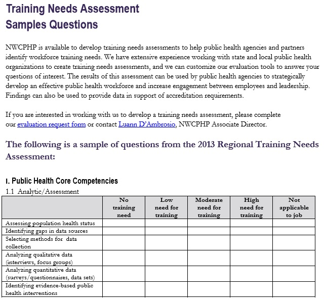 training needs assessment questionnaire template