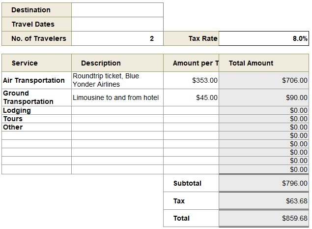 travel agency gst invoice template