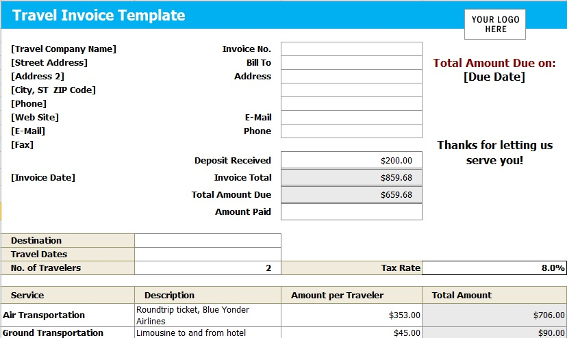 travel agency invoice excel template
