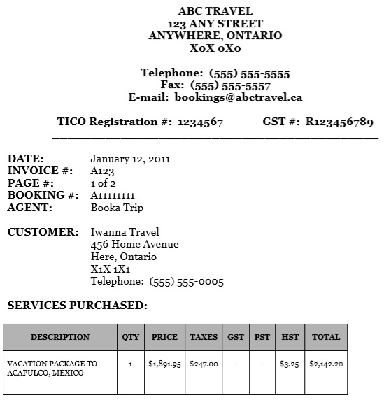 travel agent commission invoice template