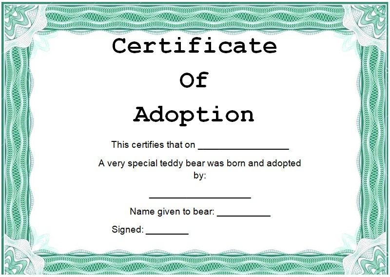 adoption certificate example