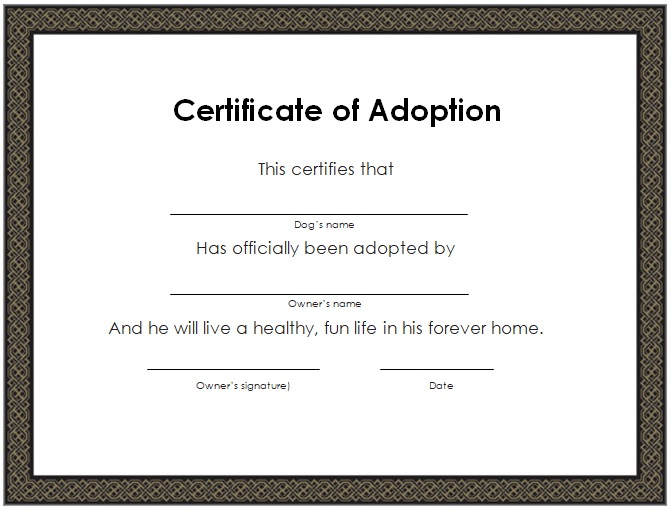 adoption certificate template free
