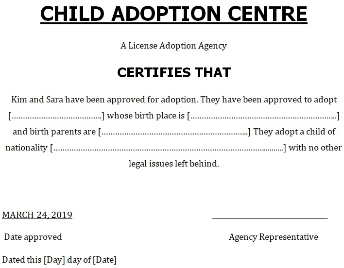 blank adoption certificate