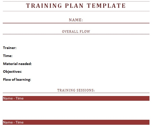 blank employee training plan template