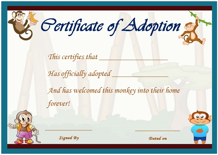 child adoption form template