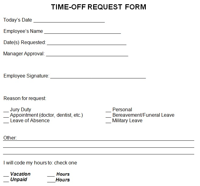 employee request off form