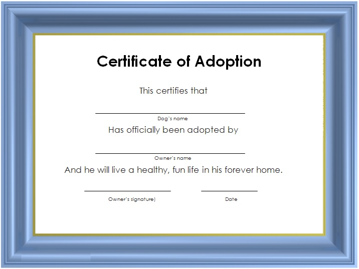 free adoption certificate template word