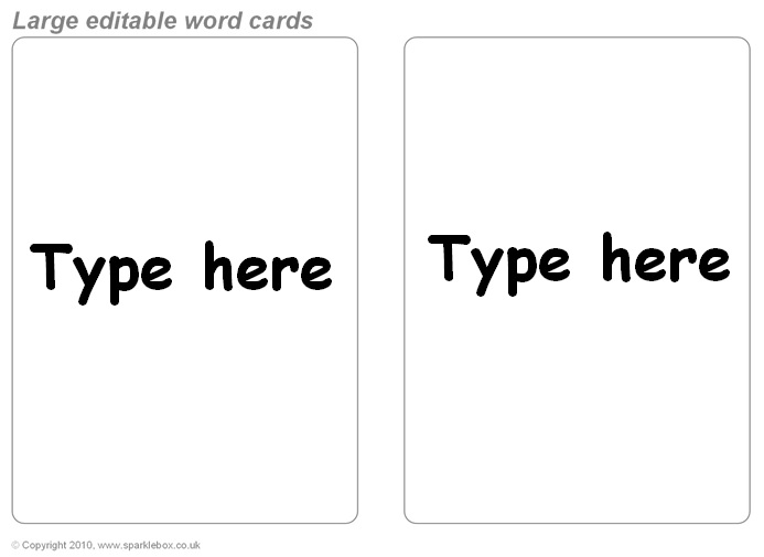 free editable flashcard template