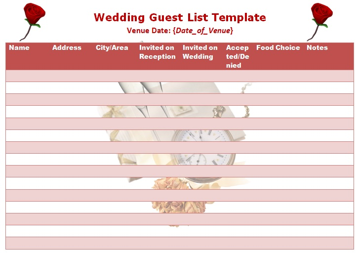 free printable wedding guest list